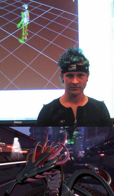 Micha with mocap skeleton and dragon