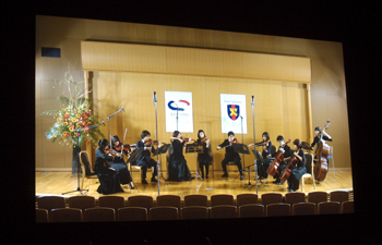 Transmitted in 4K video from Keio University in Tokyo, a pre-recorded performance of the Keio Wagner Society String Ensemble streamed via CineGrid.